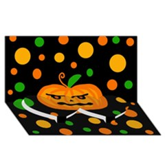 Halloween Pumpkin Twin Heart Bottom 3d Greeting Card (8x4) by Valentinaart