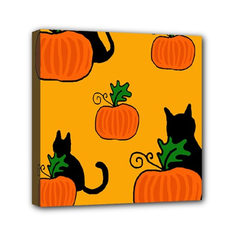 Halloween Pumpkins And Cats Mini Canvas 6  X 6  by Valentinaart