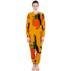 Halloween Pumpkins And Cats Onepiece Jumpsuit (ladies)  by Valentinaart