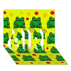 Green Frogs Girl 3d Greeting Card (7x5) by Valentinaart