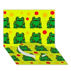 Green Frogs Circle Bottom 3d Greeting Card (7x5) by Valentinaart
