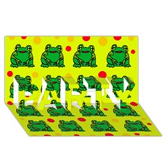 Green Frogs Party 3d Greeting Card (8x4) by Valentinaart