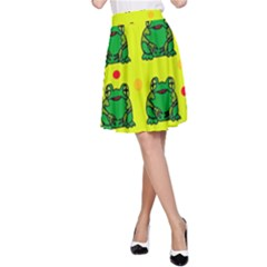 Green Frogs A Line Skirt by Valentinaart