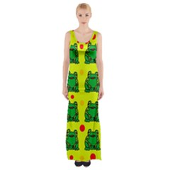 Green Frogs Maxi Thigh Split Dress by Valentinaart