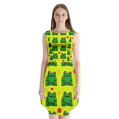 Green Frogs Sleeveless Chiffon Dress   by Valentinaart