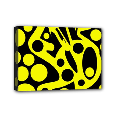 Black And Yellow Abstract Desing Mini Canvas 7  X 5  by Valentinaart