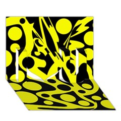Black And Yellow Abstract Desing I Love You 3d Greeting Card (7x5) by Valentinaart