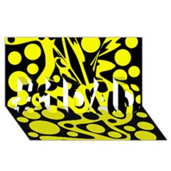 Black And Yellow Abstract Desing #1 Dad 3d Greeting Card (8x4) by Valentinaart