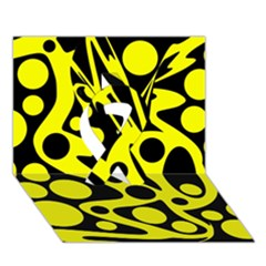 Black And Yellow Abstract Desing Ribbon 3d Greeting Card (7x5) by Valentinaart