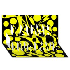 Black And Yellow Abstract Desing Laugh Live Love 3d Greeting Card (8x4) by Valentinaart
