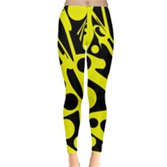 Black And Yellow Abstract Desing Leggings  by Valentinaart