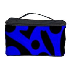 Blue And Black Abstract Decor Cosmetic Storage Case by Valentinaart