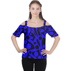 Blue And Black Abstract Decor Women s Cutout Shoulder Tee by Valentinaart