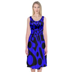 Blue And Black Abstract Decor Midi Sleeveless Dress by Valentinaart