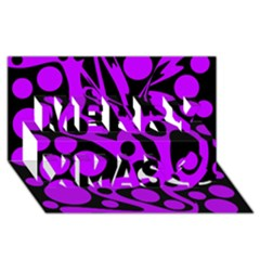 Purple And Black Abstract Decor Merry Xmas 3d Greeting Card (8x4)