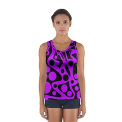 Purple And Black Abstract Decor Women s Sport Tank Top  by Valentinaart