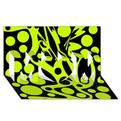 Green And Black Abstract Art Mom 3d Greeting Card (8x4)