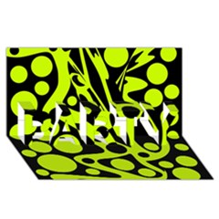 Green And Black Abstract Art Party 3d Greeting Card (8x4) by Valentinaart