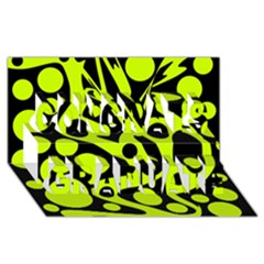 Green And Black Abstract Art Congrats Graduate 3d Greeting Card (8x4) by Valentinaart