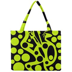 Green And Black Abstract Art Mini Tote Bag by Valentinaart