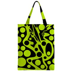 Green And Black Abstract Art Zipper Classic Tote Bag by Valentinaart