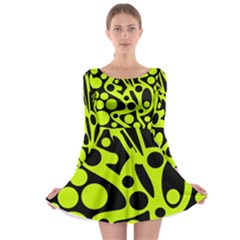 Green And Black Abstract Art Long Sleeve Skater Dress by Valentinaart