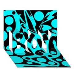 Cyan And Black Abstract Decor Boy 3d Greeting Card (7x5) by Valentinaart
