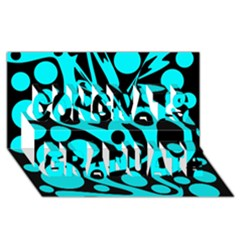 Cyan And Black Abstract Decor Congrats Graduate 3d Greeting Card (8x4) by Valentinaart