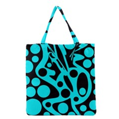 Cyan And Black Abstract Decor Grocery Tote Bag by Valentinaart