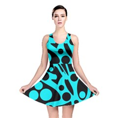 Cyan And Black Abstract Decor Reversible Skater Dress by Valentinaart