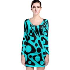 Cyan And Black Abstract Decor Long Sleeve Bodycon Dress by Valentinaart
