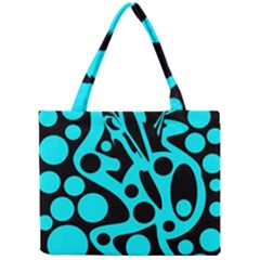 Cyan And Black Abstract Decor Mini Tote Bag by Valentinaart