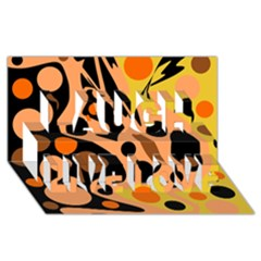 Orange Abstract Decor Laugh Live Love 3d Greeting Card (8x4) by Valentinaart