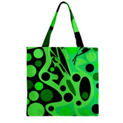 Green Abstract Decor Zipper Grocery Tote Bag by Valentinaart