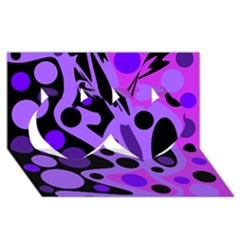 Purple Abstract Decor Twin Hearts 3d Greeting Card (8x4) by Valentinaart