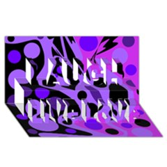 Purple Abstract Decor Laugh Live Love 3d Greeting Card (8x4)
