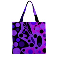 Purple Abstract Decor Zipper Grocery Tote Bag by Valentinaart