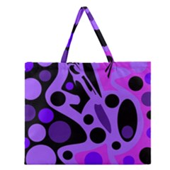 Purple Abstract Decor Zipper Large Tote Bag by Valentinaart