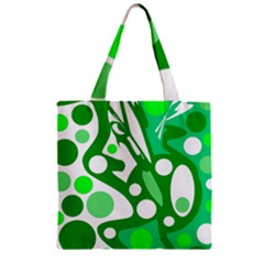 White And Green Decor Zipper Grocery Tote Bag by Valentinaart