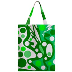 White And Green Decor Zipper Classic Tote Bag by Valentinaart