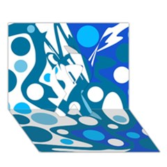 Blue And White Decor Ribbon 3d Greeting Card (7x5)
