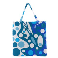 Blue And White Decor Grocery Tote Bag by Valentinaart