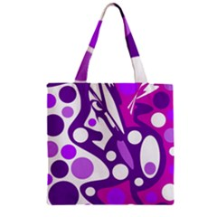 Purple And White Decor Zipper Grocery Tote Bag by Valentinaart