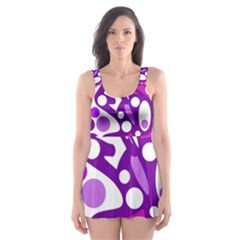 Purple And White Decor Skater Dress Swimsuit by Valentinaart