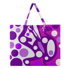 Purple And White Decor Zipper Large Tote Bag by Valentinaart