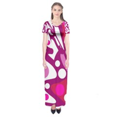 Magenta And White Decor Short Sleeve Maxi Dress by Valentinaart