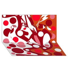 Red And White Decor Twin Hearts 3d Greeting Card (8x4) by Valentinaart