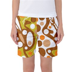 Orange And White Decor Women s Basketball Shorts by Valentinaart