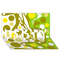 Green And Yellow Decor Party 3d Greeting Card (8x4) by Valentinaart