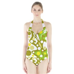 Green And Yellow Decor Halter Swimsuit by Valentinaart